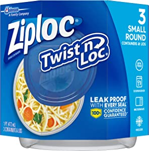 Ziploc Twist 'n Loc, Storage Containers for Food, Travel and Organization, Dishwasher Safe, Small Round, 3 Count