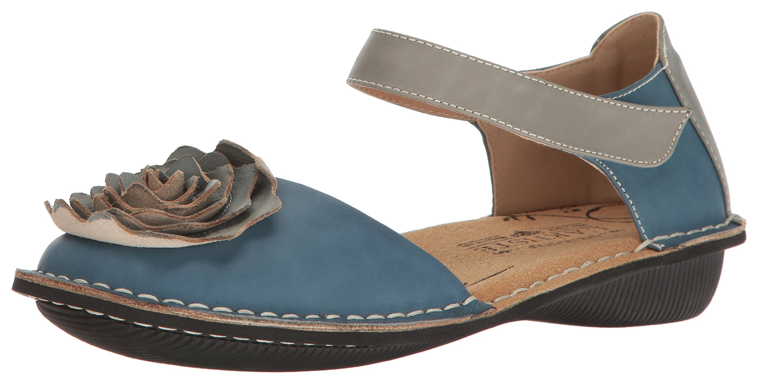 L'Artiste by Spring Step Women's Caicos-Blum Mary Jane Flat, Blue/Multi, 39 EU/8.5 M US