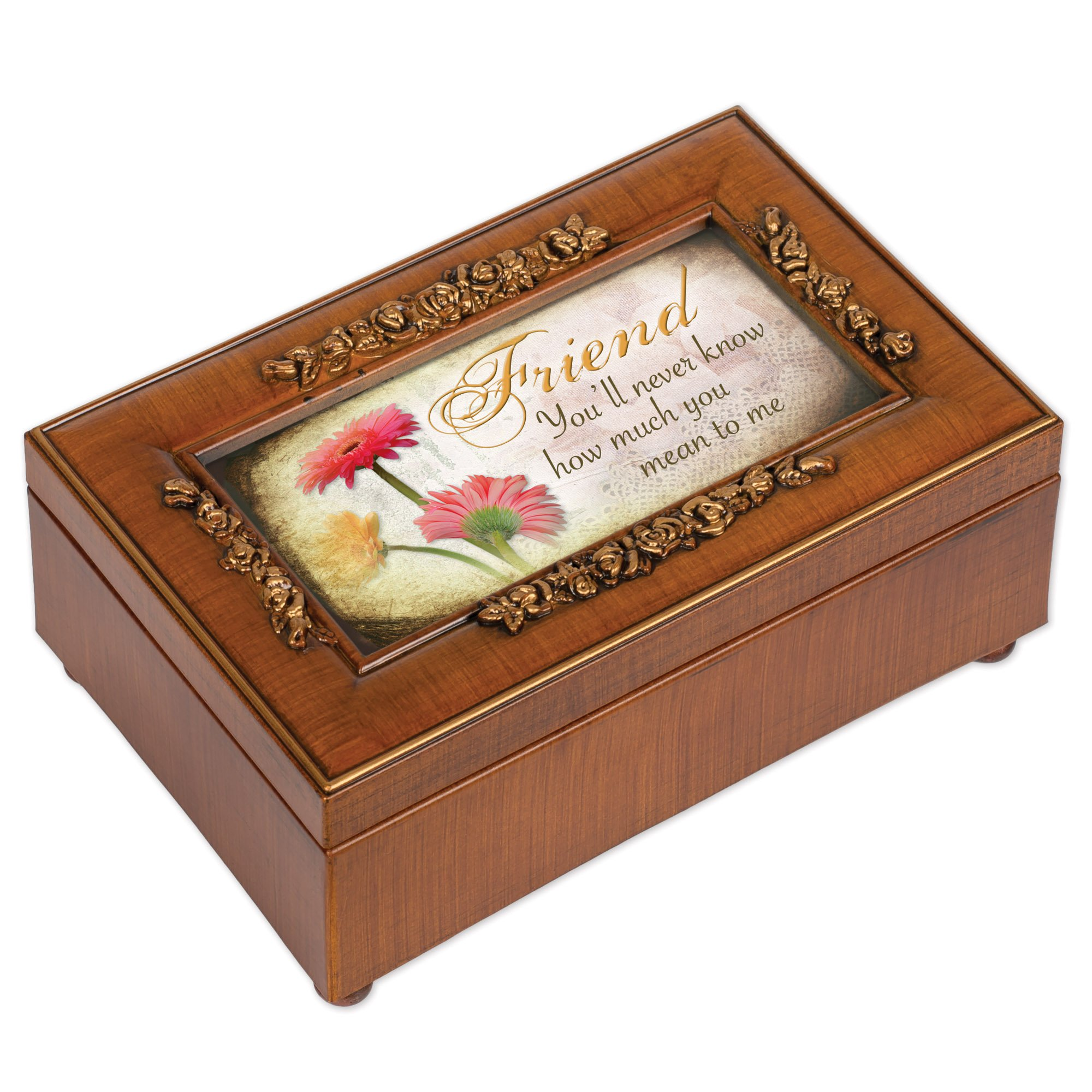 Cottage Garden Friend Woodgrain Petite Rose Music Box/Jewelry Box Plays That�S What Friends Are