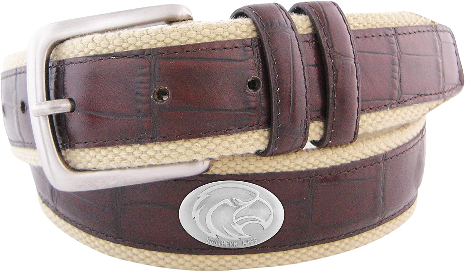 NCAA Southern Miss Golden Eagles Croc Leather Webbing Concho Belt Brown 36-Inch