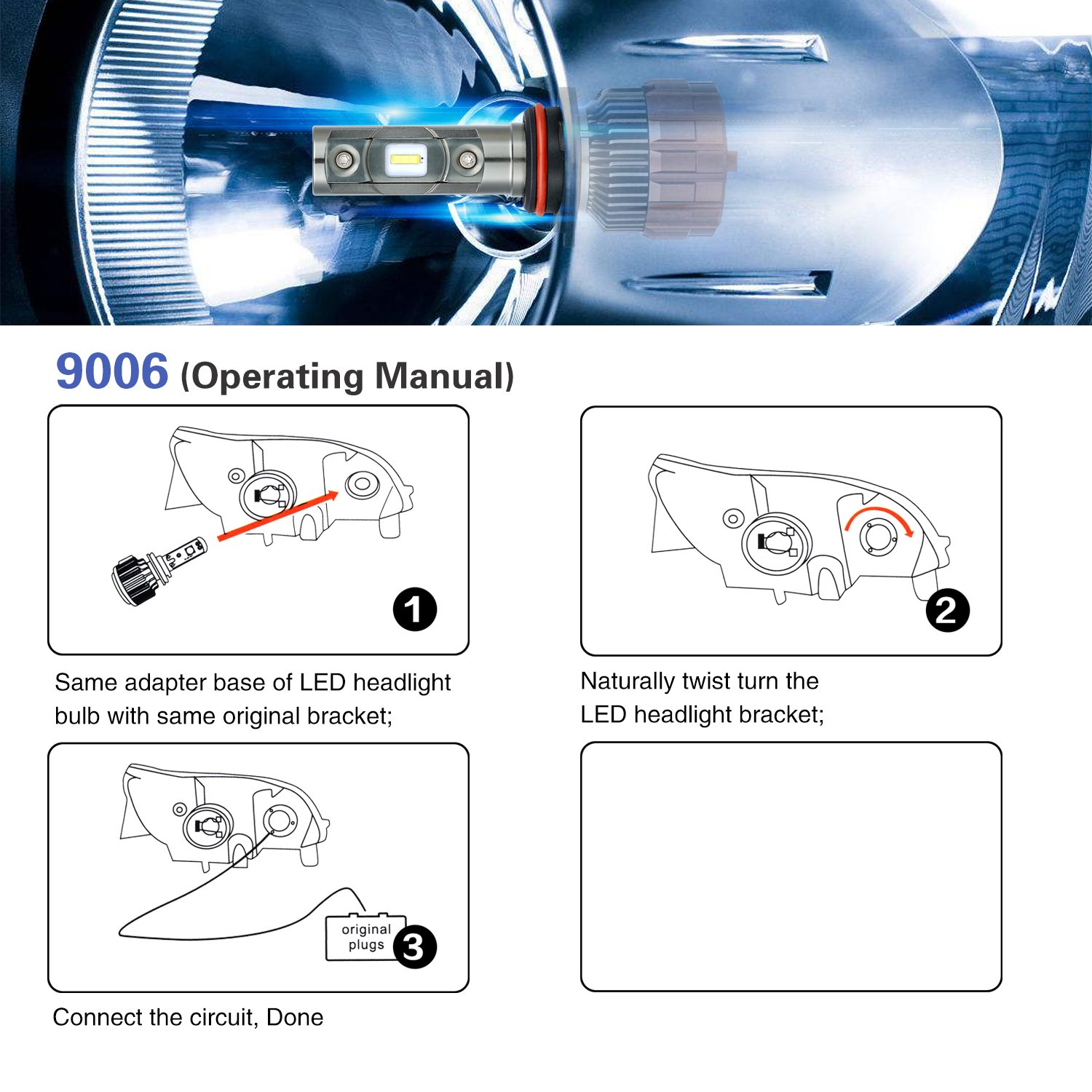 9006 Led Headlight Bulbs Okray Super Bright Hid Conversion Kit Wiring Diagram Headlights Easy Installation All In One High Power 60w 6000lm 5700k