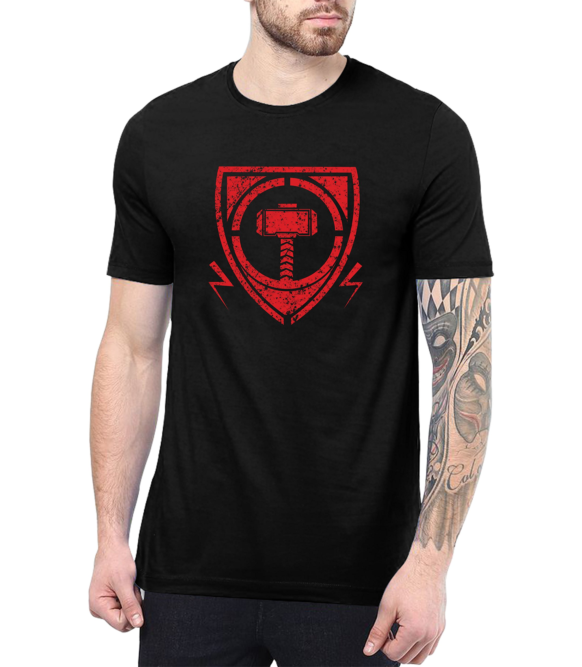 Mens Black Thor T Shirts Party Gift Thor Shield S