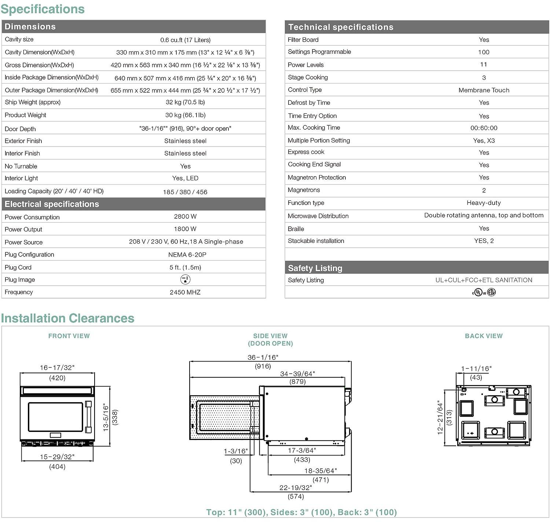 Amazon.com: Midea 1817 G1 A Heavy Duty Comercial Microondas ...