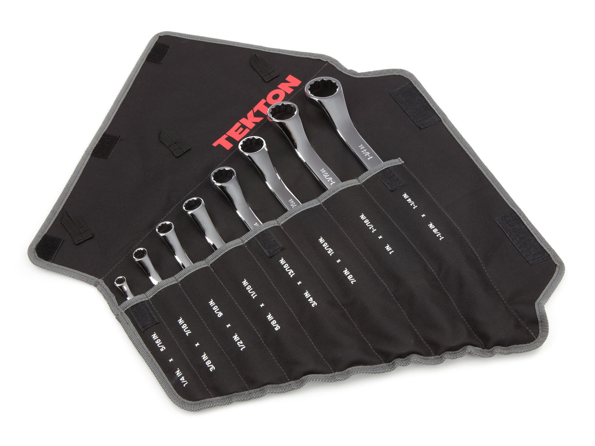 TEKTON 45-Degree Offset Box End Wrench Set with Roll-up Storage Pouch, Inch, 1/4-Inch - 1-1/4-Inch, 8-Piece | WBE23508