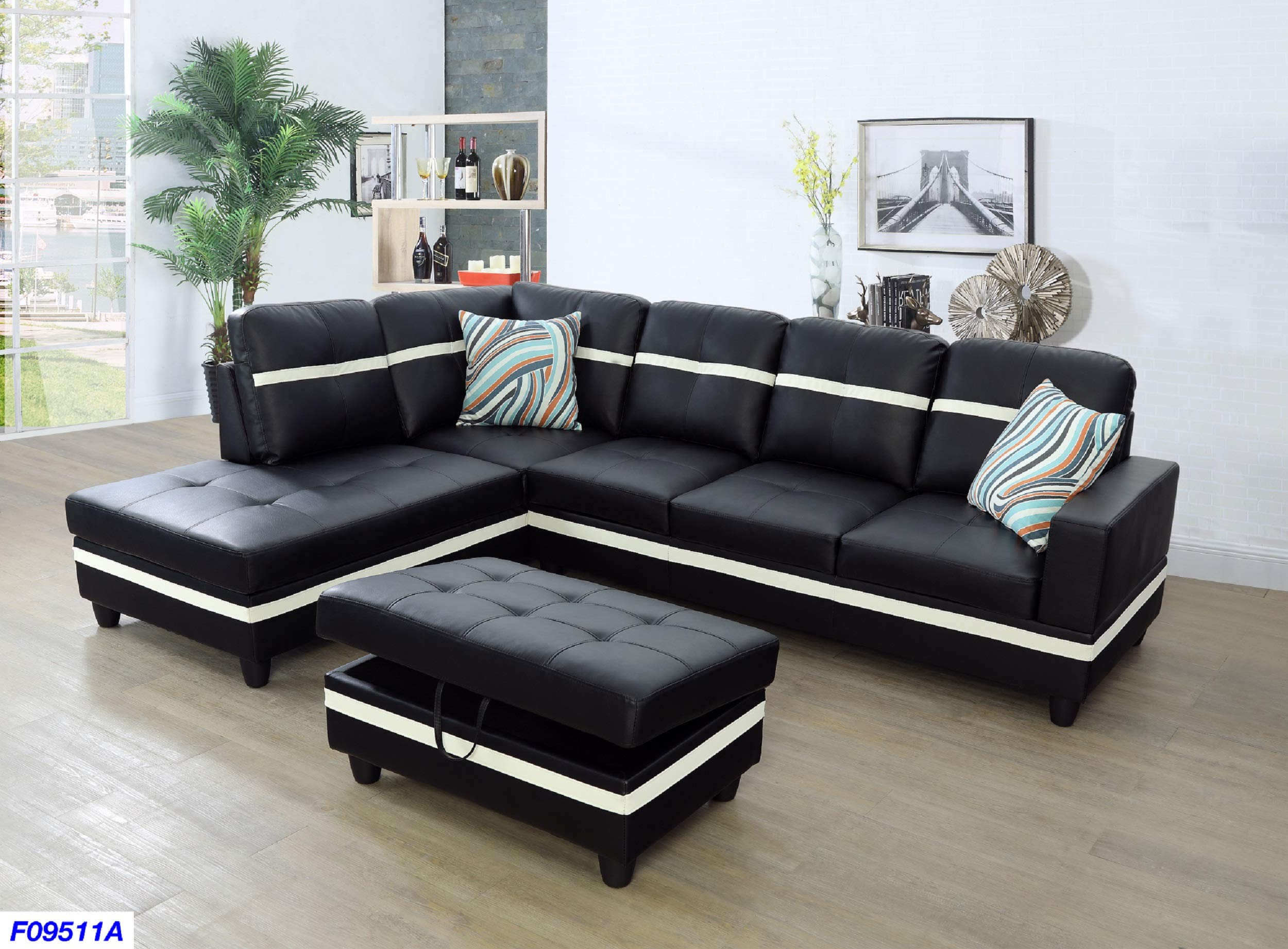 CHEAP Beverly Fine Funiture SHPO9511A-3PC Sectional Sofa Set, Black with  White Stripe - Reviews VIDEO - Special Discount Today
