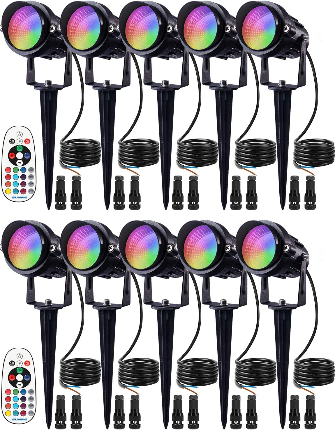 SUNVIE 12W Low Voltage Landscape Lighting RGB Color Changing LED Landscape Lights Remote Control Waterproof Spotlight Garden Patio Spotlights Decorative Lamp for Outdoor Indoor(10 Pack with Connector)