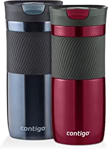 Contigo Byron SnapSeal Vacuum-Insulated Travel Mug, Spiced Wine and Stormy Weather , 16 oz, (Pack of 2)