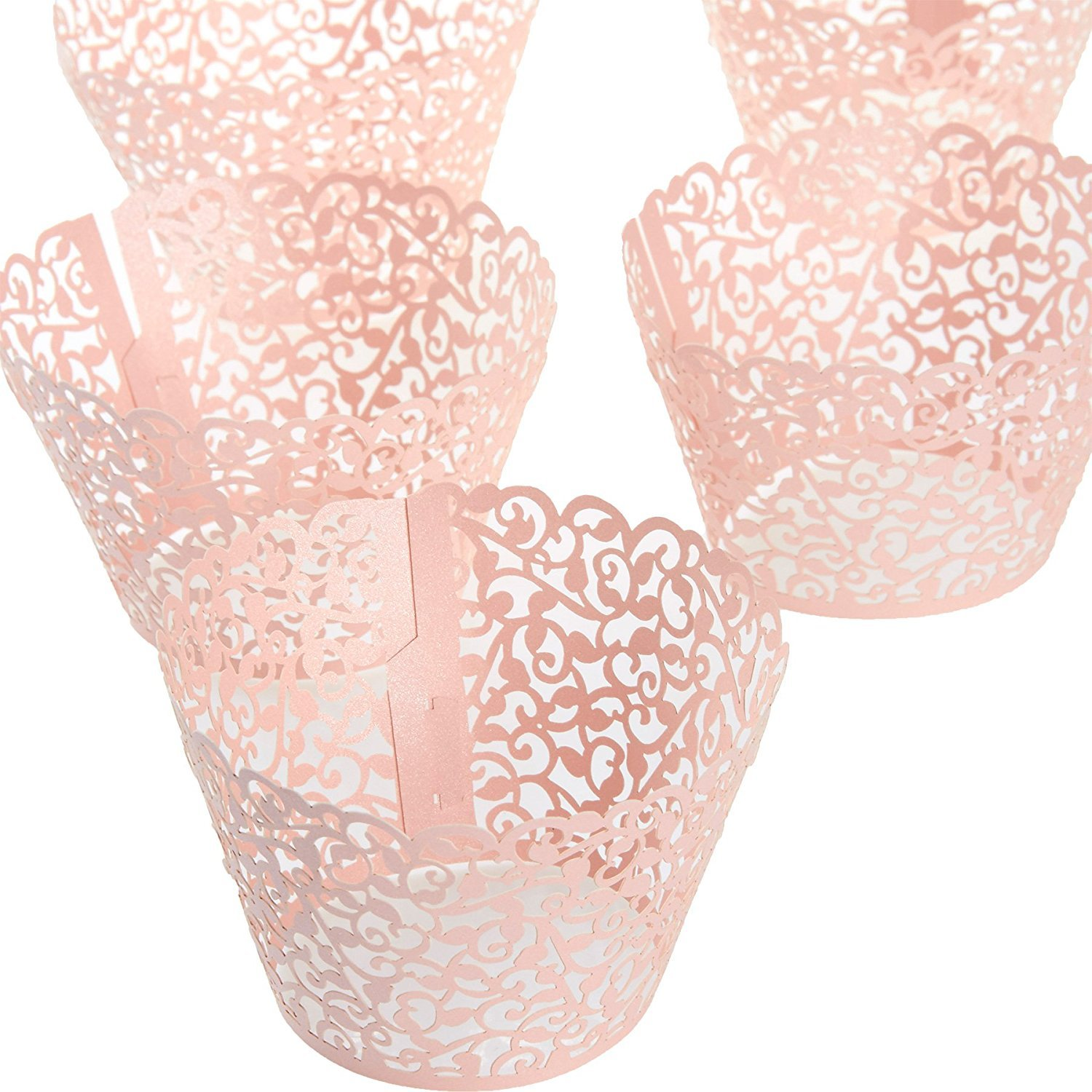 100 Piece Lace Cupcake Liners - Decorative Laser Cut Wrappers, Muffin Cups - Elegant Vine Hollow Pattern Design for Weddings, Birthday Party, Baby Showers, Christmas and Special Occasions - Pink by Juvale (Image #9)