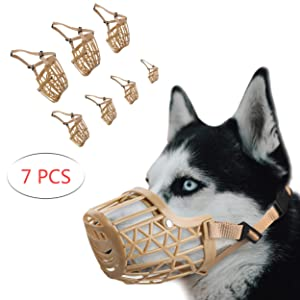 ILEPARK Museruola per Cani,1 Set di 7 PZ Baskerville Regolabile per Cane di Piccole Medie e Grandi per Prevenire Morsi Abbaio masticazione