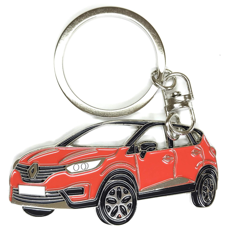 Porte-cl/és Captur pour accessoires de voiture Plaque en m/étal chrom/é R/éplique /émail grey
