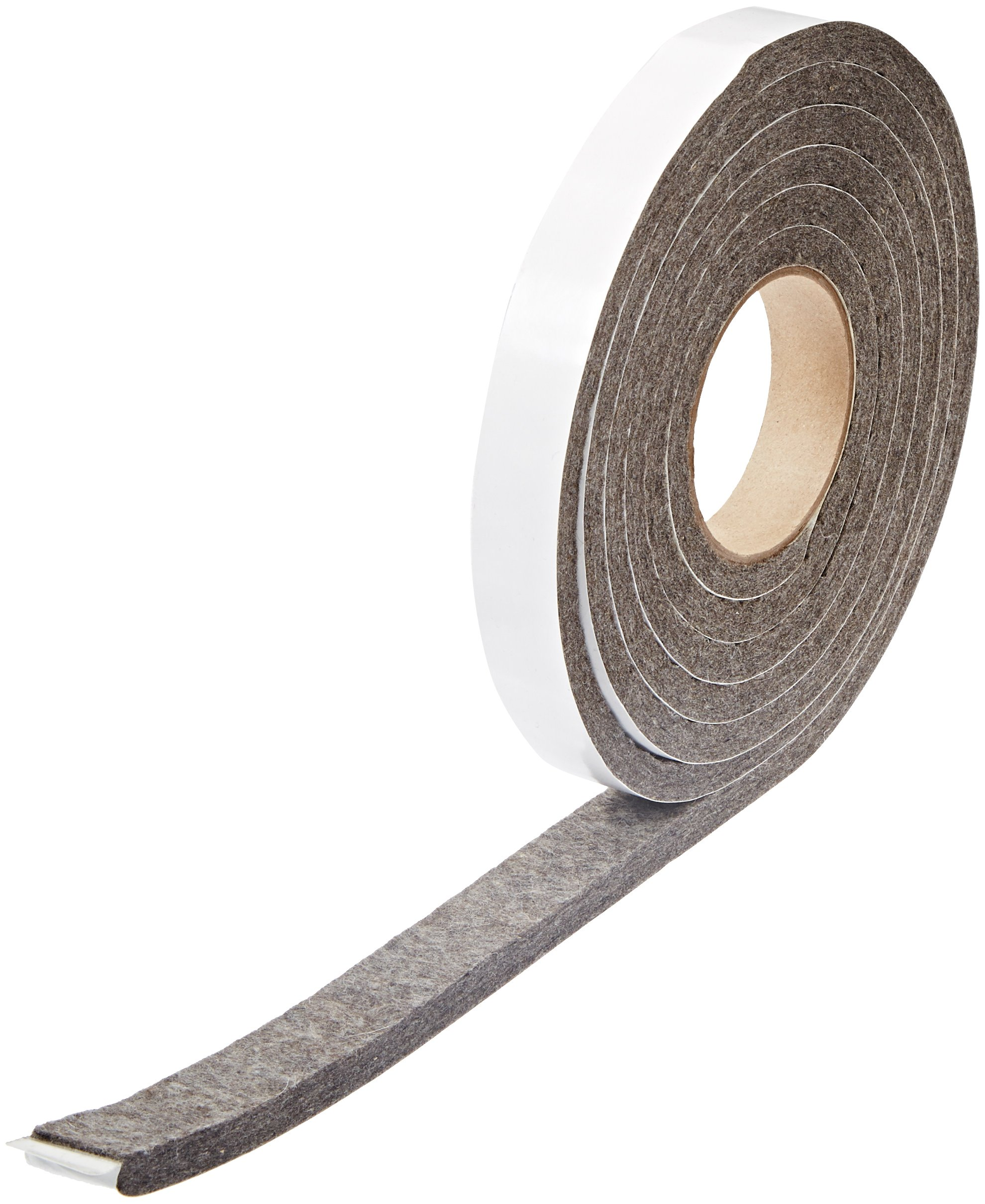 Grade F7 Pressed Wool Felt Strip, Gray, Meets SAE J314, Adhesive Backed, 3/8'' Thickness, 1'' Width, 10' Length