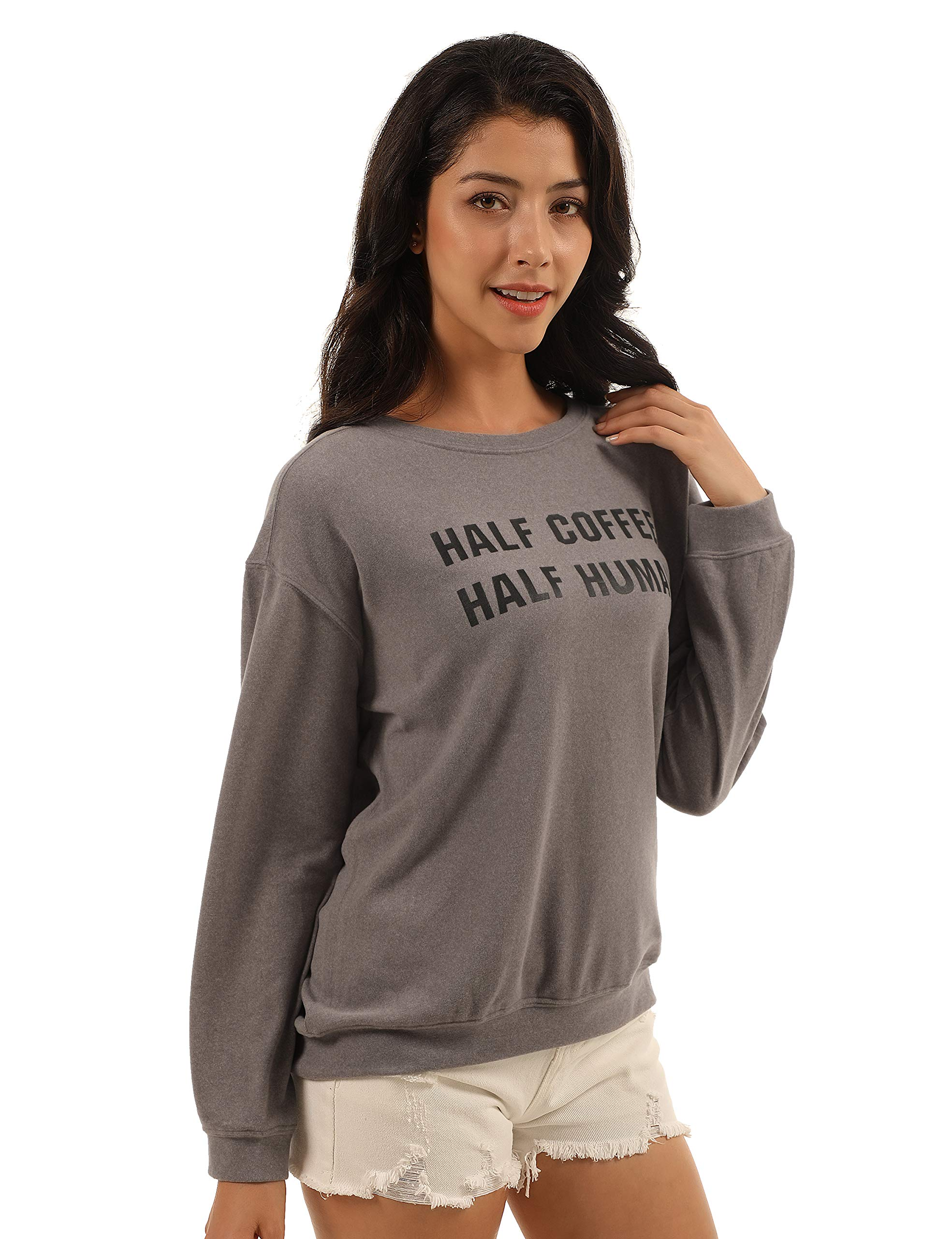 Blooming Jelly Womens Pullover Crewneck Sweatshirt Letter Print Long Sleeve Shirt Oversized Graphic Casual Top (x-Large, Grey)