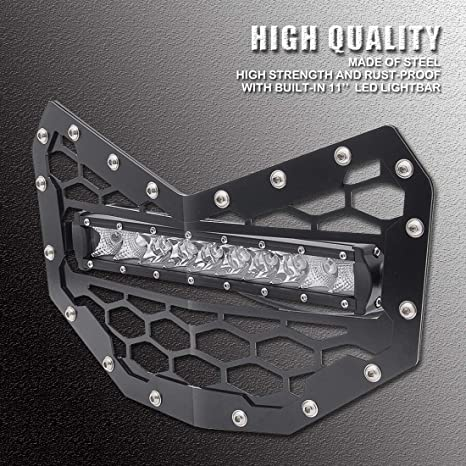 RZR 4 800 RZR 570 2011 2012 2013 2014 Samlight Black Steel Mesh Grille Stainless with 13 inch 60W Combo Beam Single Led Light Bar and Wiring Harness for Polaris RZR 800 RZR S 800