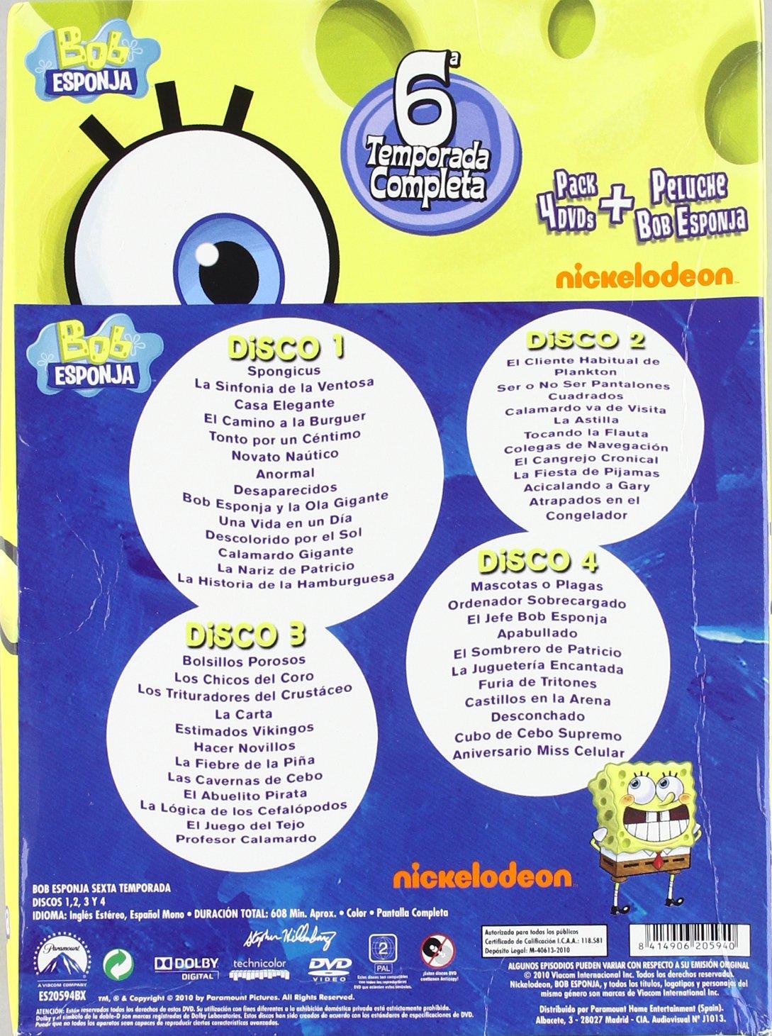 Bob Esponja: La 6ª Temporada Completa + Peluche Bob Esponja DVD ...