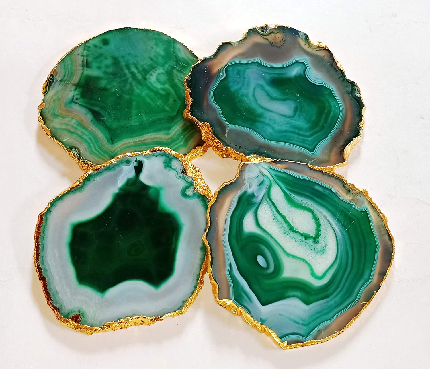 Coasters Green Agate Coasters Set With Gold Electroplated Stone Coasters Quartz Coasters Drink Ware Coasters Set Home Decor 12 Green Coasters