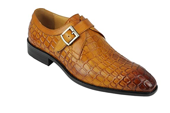 Mens Snakeskin Reptile Print Real Leather Vintage Monk Strap Smart Formal Dress Shoes In Tan Brown