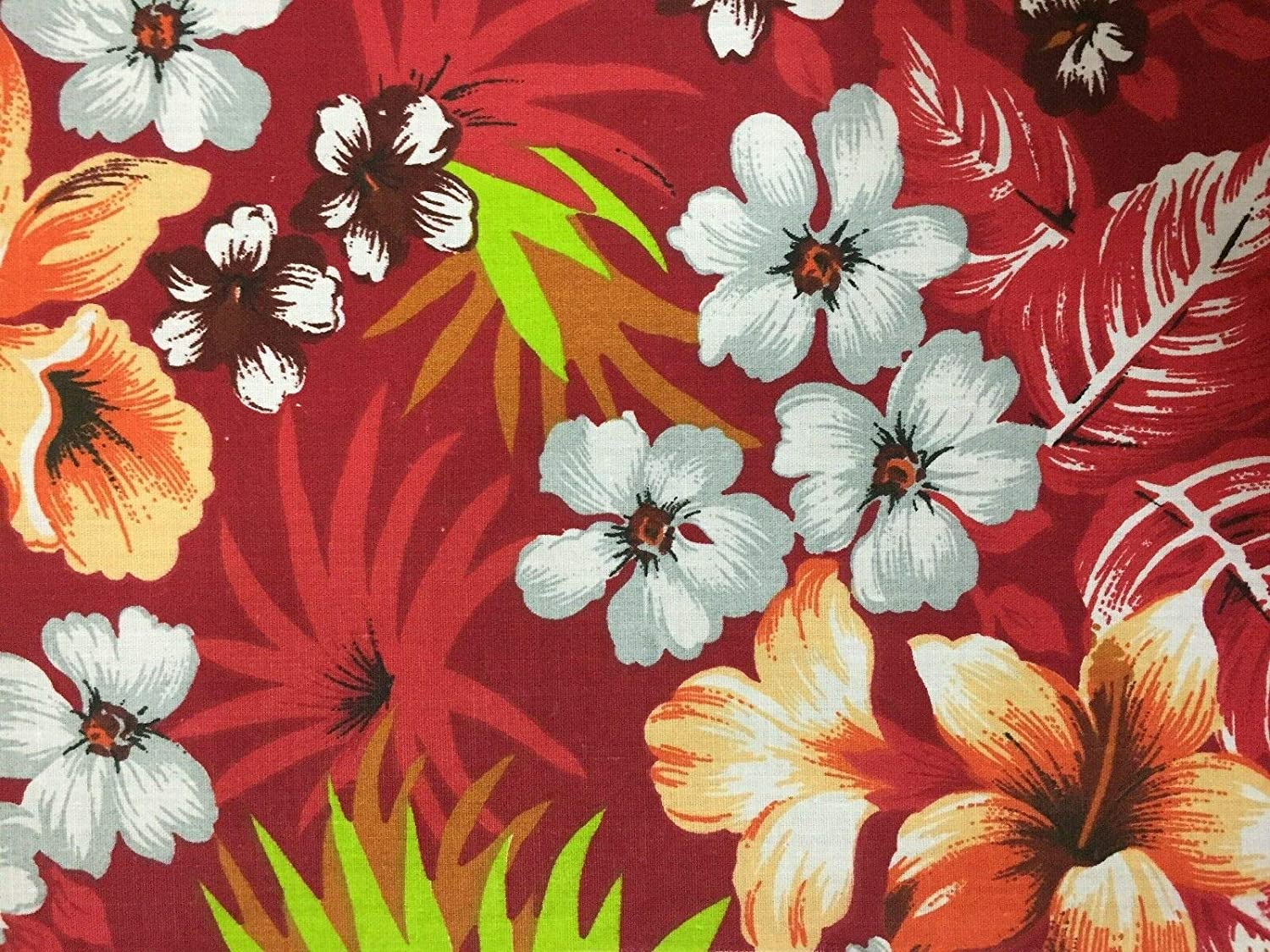 Amazon Com Red Hawaiian Floral Print Poly Cotton Fabric Sold By