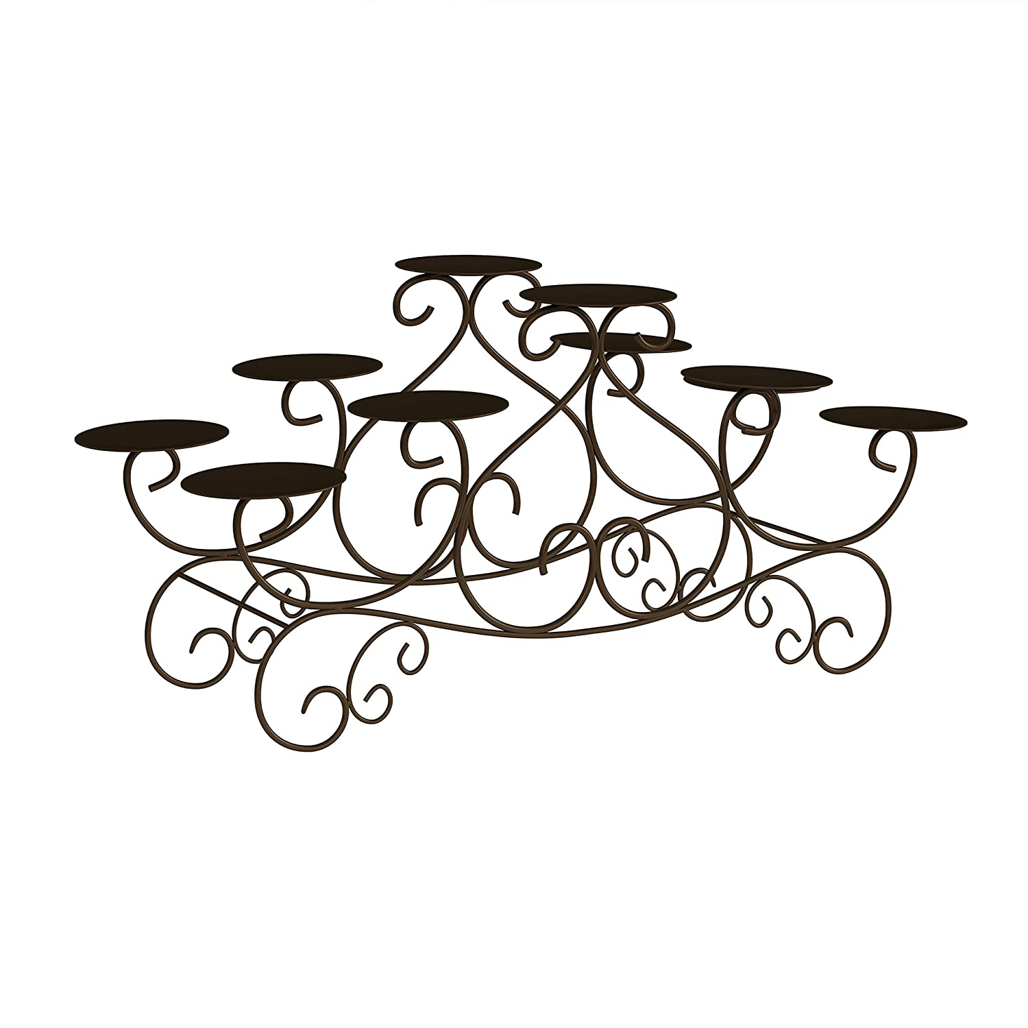Brown Event Lavish Home 10 Candle Candelabra with Swirl Design- Handcrafted Iron Candle Holder//Centerpiece for Fireplace Wedding Brown Home D/écor
