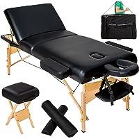 TecTake Table de massage cosmetique lit épaisseur de coussin 10cm + accessoires - diverses couleurs au choix - (Noir)