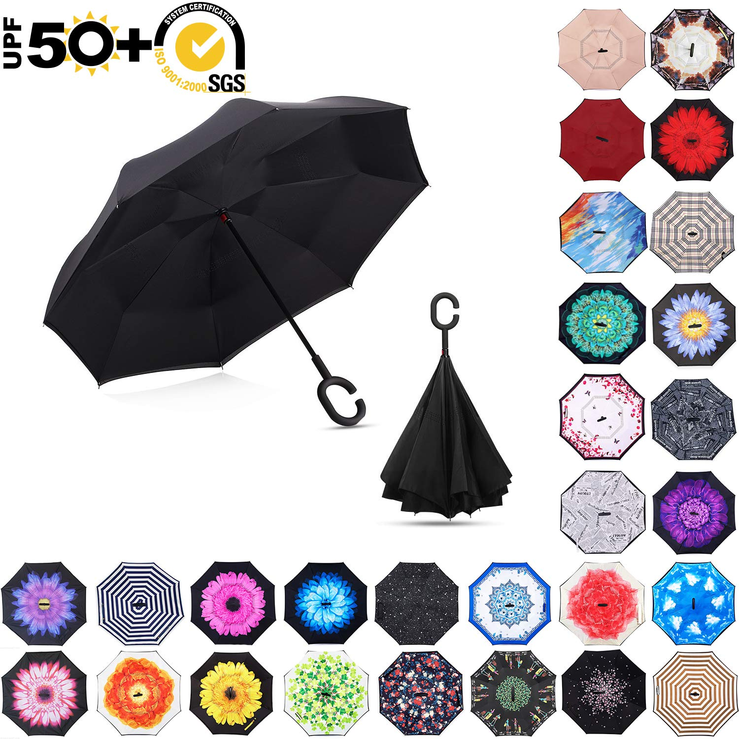 MASTERCANOPY Inverted Umbrella,Double Layer Reverse Windproof Teflon Repellent Umbrella for Car and Outdoor Use, UPF 50+ Big Stick Umbrella with C-Shaped Handle and Carrying Bag, Black by MasterCanopy
