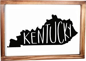 Kentucky Sign - Rustic Farmhouse Decor For The Home - Kentucky State Sign, Modern Farmhouse State Gift, Kentucky Wall Decor, State Souvenir, Rustic Home Decor Sign With Solid Wood Frame 11x16 Inch