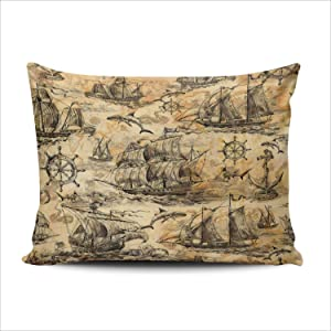 ONGING Decorative Pillowcases Vintage Marine Theme Sailboats Sharks Steering Wheels Standard Size 20x26 Inch Throw Pillow Cover Case Hidden Zipper One Sided Design Printed