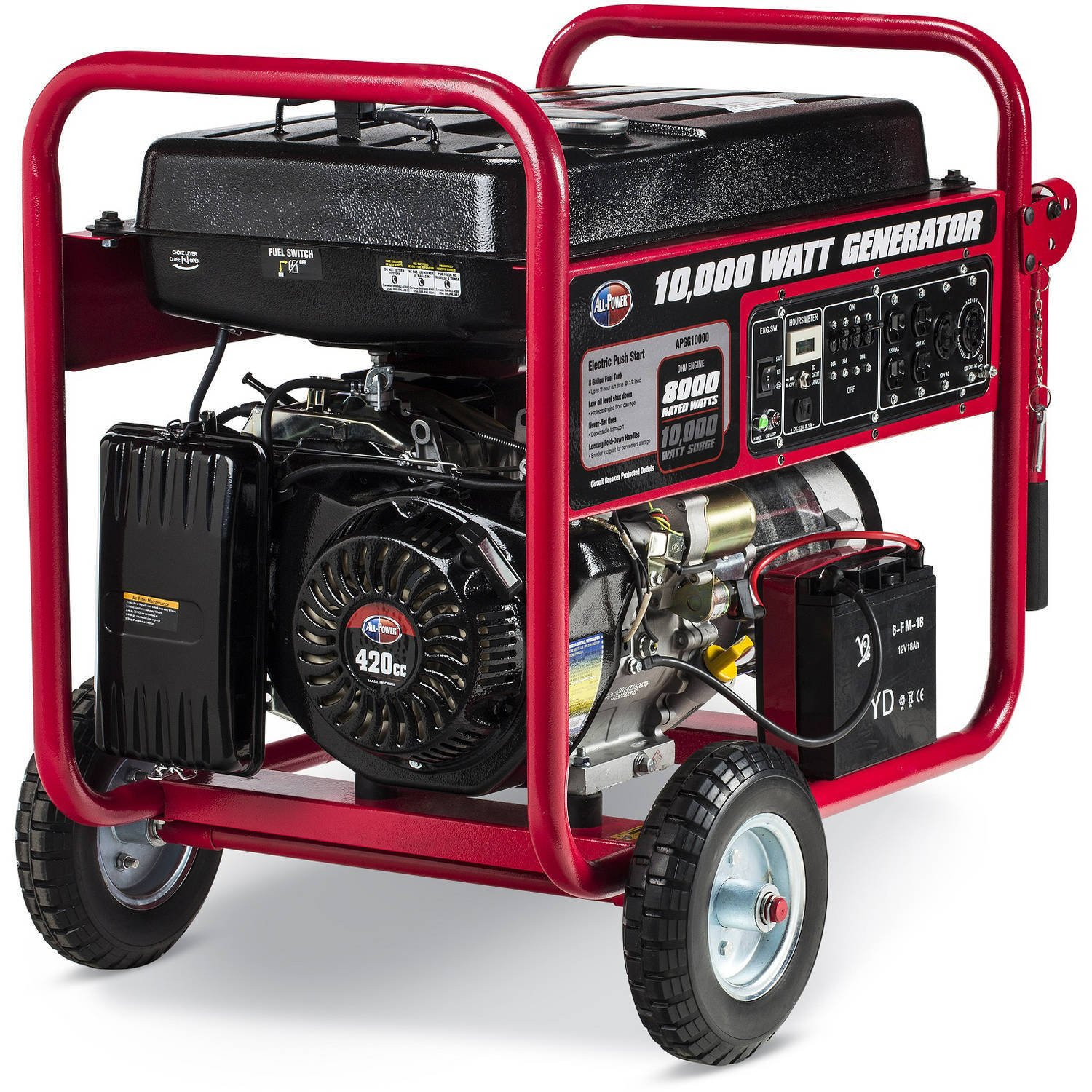 All Power America Apgg10000 10000w Watt Generator With 240 Volt Inlet Wiring Diagram Electric Start Portable Gas For Home Use Emergency Backup Rv Standby