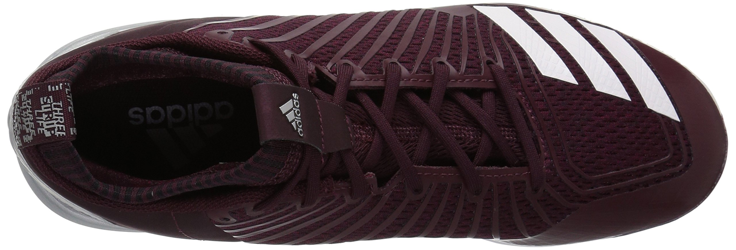 adidas Men's Freak X Carbon Mid Baseball Shoe, Maroon/White/Metallic Silver, 7.5 Medium US by adidas (Image #8)