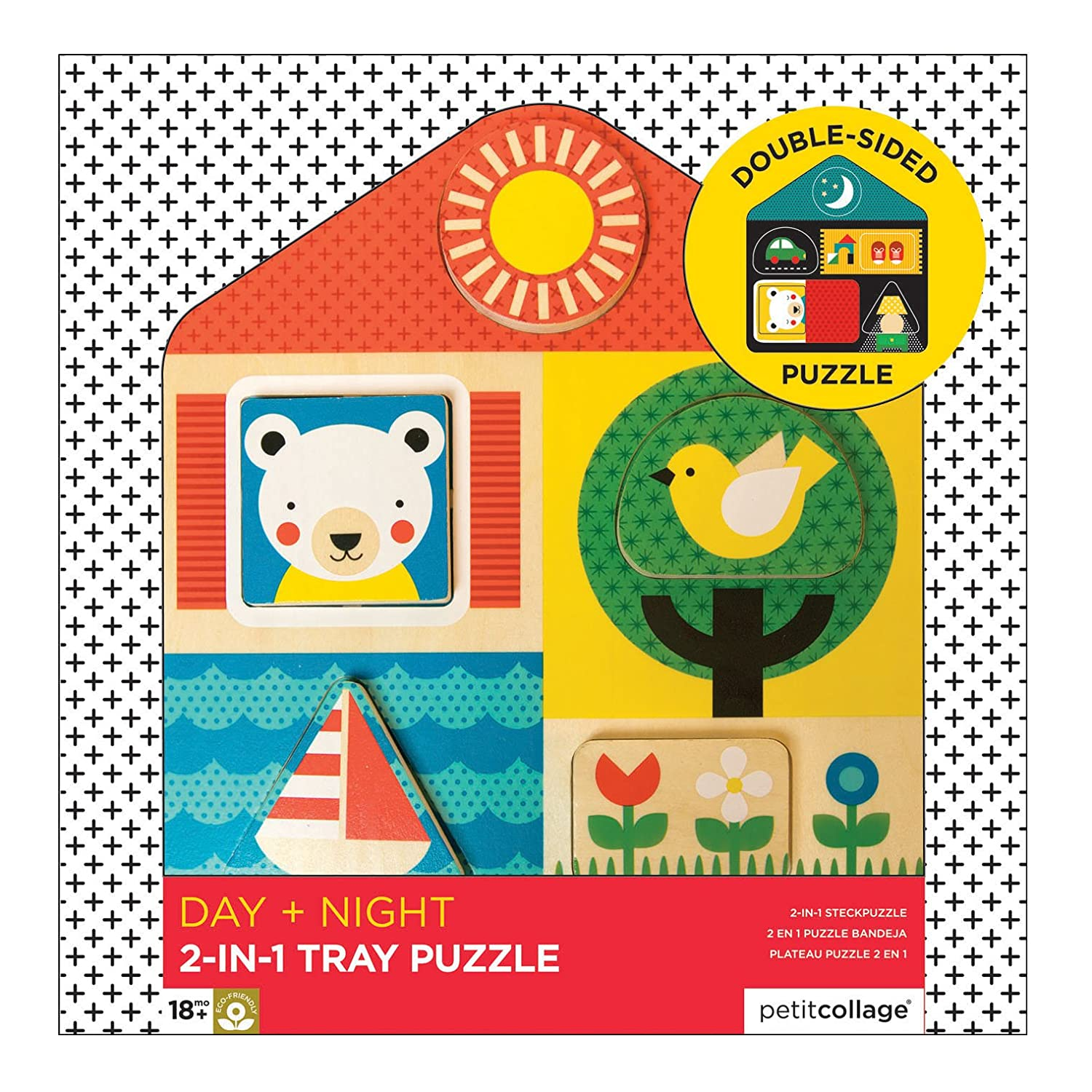 Amazon.com : Petit Collage 2-in-1 Double-Sided Wooden Tray Puzzle, Day and Night : Baby
