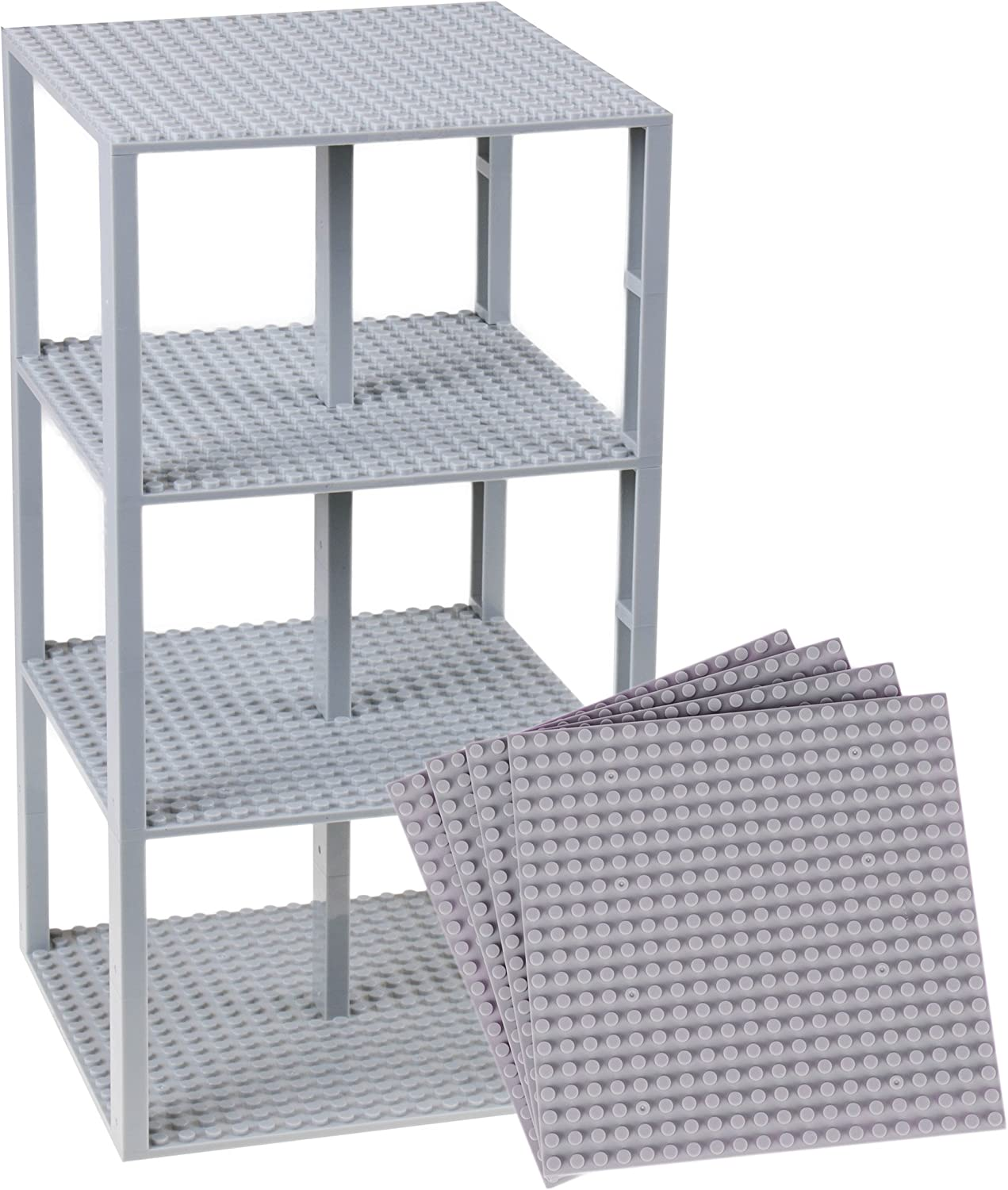 "Premium Light Gray Stackable Base Plates - 4 Pack 6"" x 6"" Baseplate Bundle with 30 Light Gray New and Improved 2 X 2 Stackers - Compatible with All Major Brands - Tower Construction"