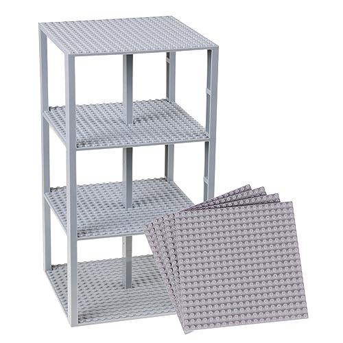 """Stapelbare Premium-Bauplatten - inkl. neuen verbesserten 2x2-Bausteinen - kompatibel mit allen großen Marken - geeignet für Turm-Konstruktionen - Set aus 4 Platten - je 6"""" x 6"""" (15,2 x 15,2 cm) - Hellgrau"""