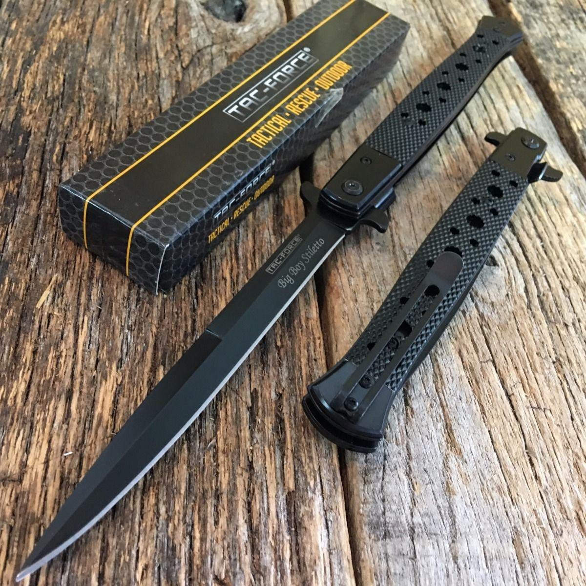 TAC FORCE 12.5'' Extra Large Spring Assisted Open Pocket Knife BLACK