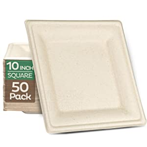 100% Compostable Square Paper Plates [10 inch - 50-Pack] Elegant Disposable Dinner Plates Heavy-Duty Quality, Natural Bagasse Unbleached Eco-Friendly Made of Sugar Cane Fibers, 10