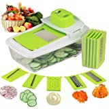 CUH 5 in 1 Cheese Fruit Vegetable Mandoline Slicer Cutter Peeler Grater & Julienne Slicer with Storage Container and Interchangeable Stainless Steel Blades, Food Slicer, Vegetable Slicer, 5 Blades