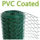 CrazyGadget® Chicken Wire Mesh Rabbit Animal Fence Green PVC Coated Steel Metal Garden Netting Fencing 25m (0.6m x 25m)