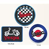 Vespa Aufn/äher Aufb/ügler Patch 3 St/ück Set Motorroller Roller Piaggio Lusso Italia
