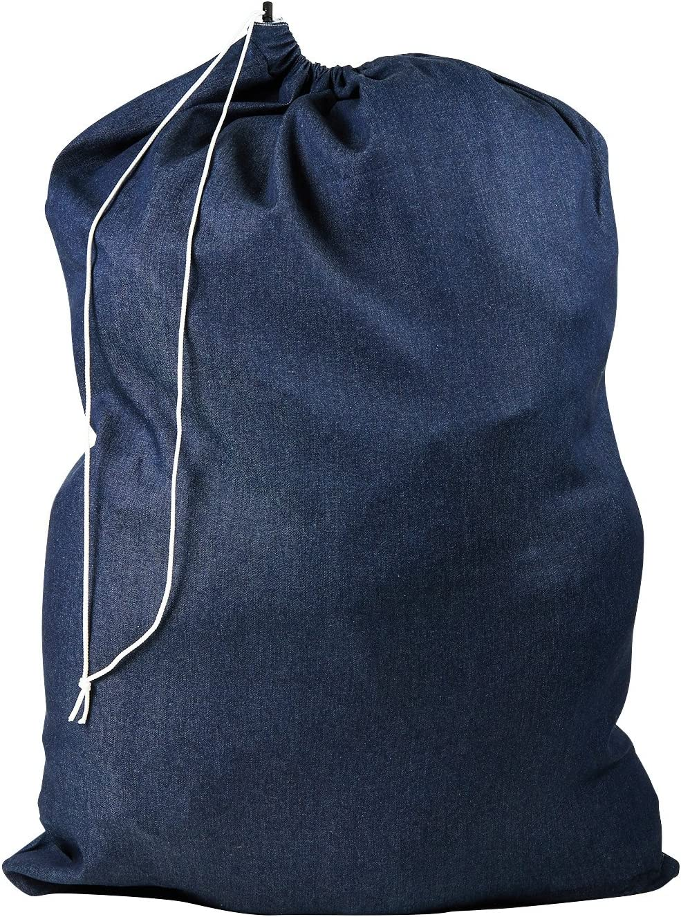 Nylon Laundry Bag - Locking Drawstring Closure and Machine Washable. These Large Bags Will Fit a Laundry Basket or Hamper and Strong Enough to Carry up to Three Loads of Clothes. (Denim)