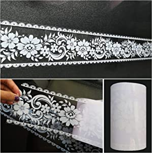 """Wallpaper Border Stick and Peel - Transparent Floral Lace Wallpaper Mirror Glass Decor Tile Removable Waterproof Window Stickers, 393.7"""" x 3.9 Inches Wide"""