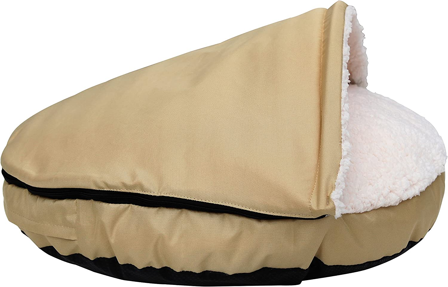 """long rich Durable Oxford to Sherpa Pet Cave and Round Pet Bed, 25"""", with Removable top and Insert, by Happycare Textiles"""