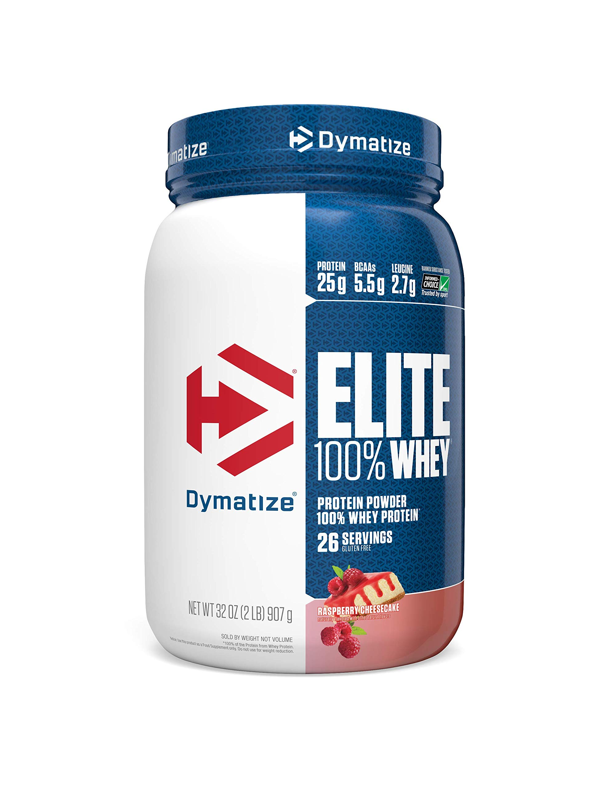 Dymatize Elite 100% Whey Protein Powder, Take Pre Workout or Post Workout, Quick Absorbing & Fast Digesting, Raspberry Cheesecake, 2 Pound by Dymatize