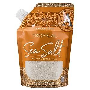 Artisan Salt Company Mayan Sun Tropical Sea Salt, Pour Spout Pouch, 13 Ounce