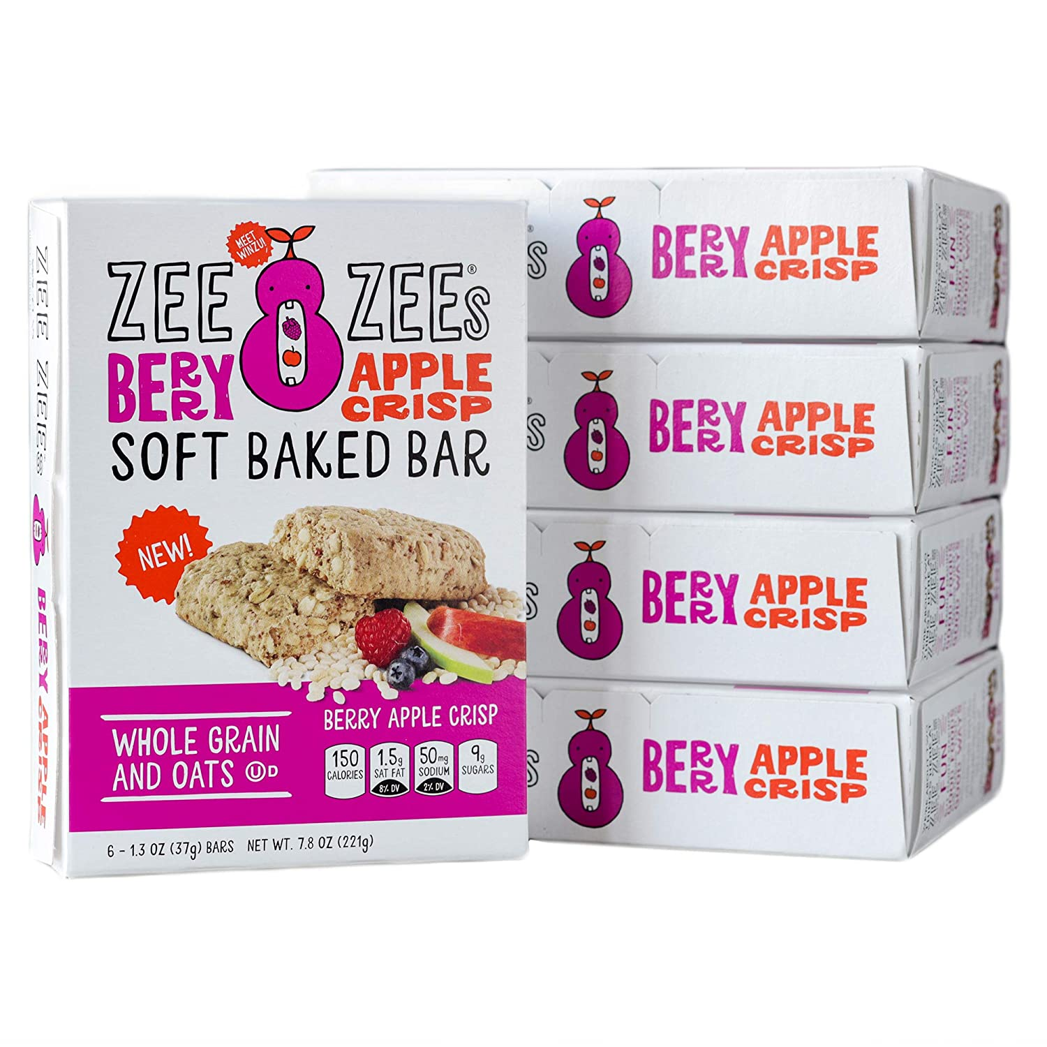 Zee Zees Berry Apple Crisp Soft Baked Snack Bars, Nut-Free, Whole Grain, Naturally Flavored, 1.3 oz, 30 pack …