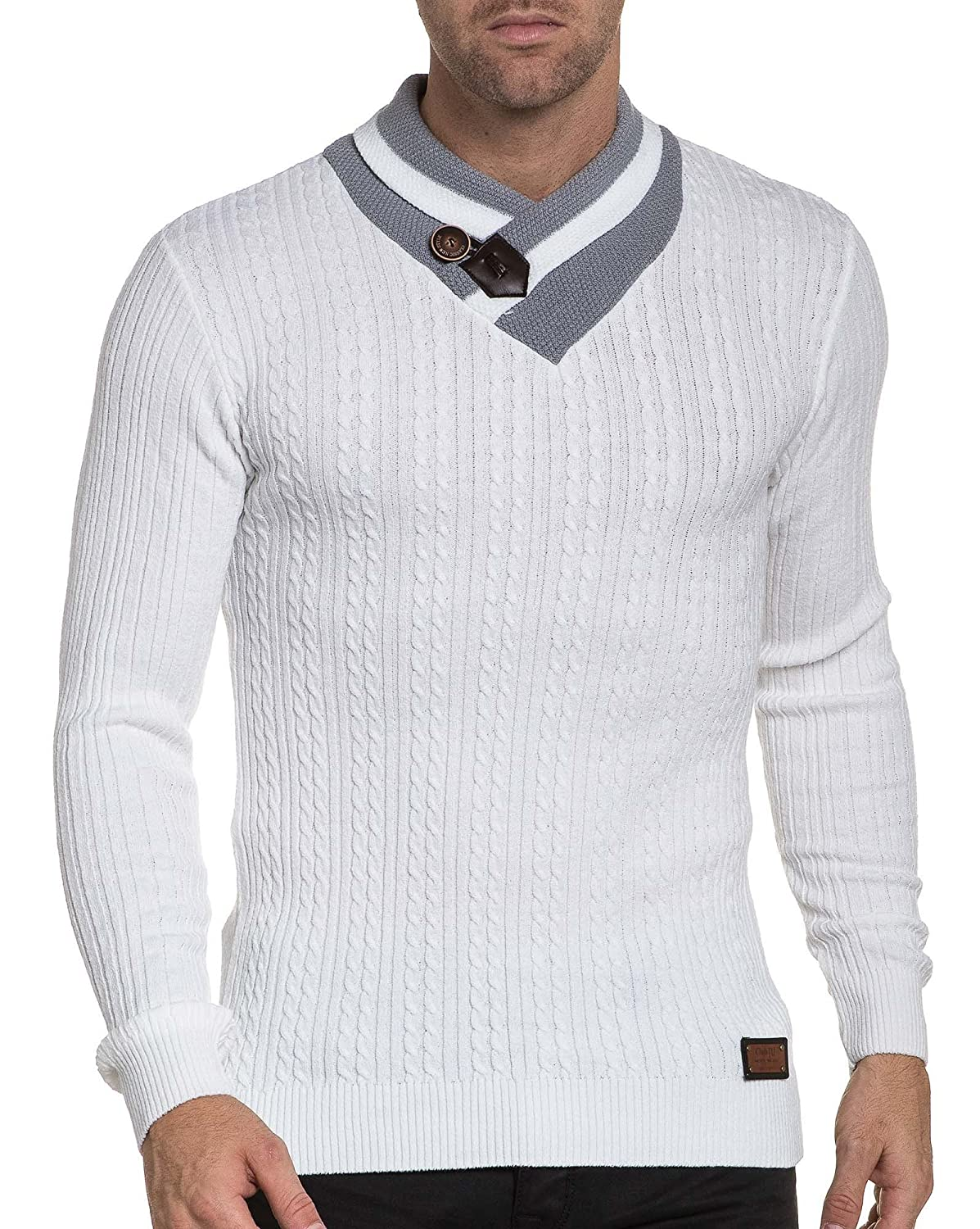 BLZ jeans - Pullover ribbed shawl collar white man amount