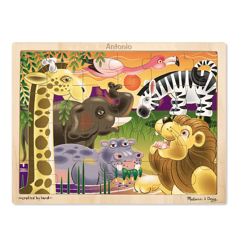 Melissa & Doug African Plains Safari Wooden Jigsaw Puzzle With Storage Tray (24 pcs) 2937