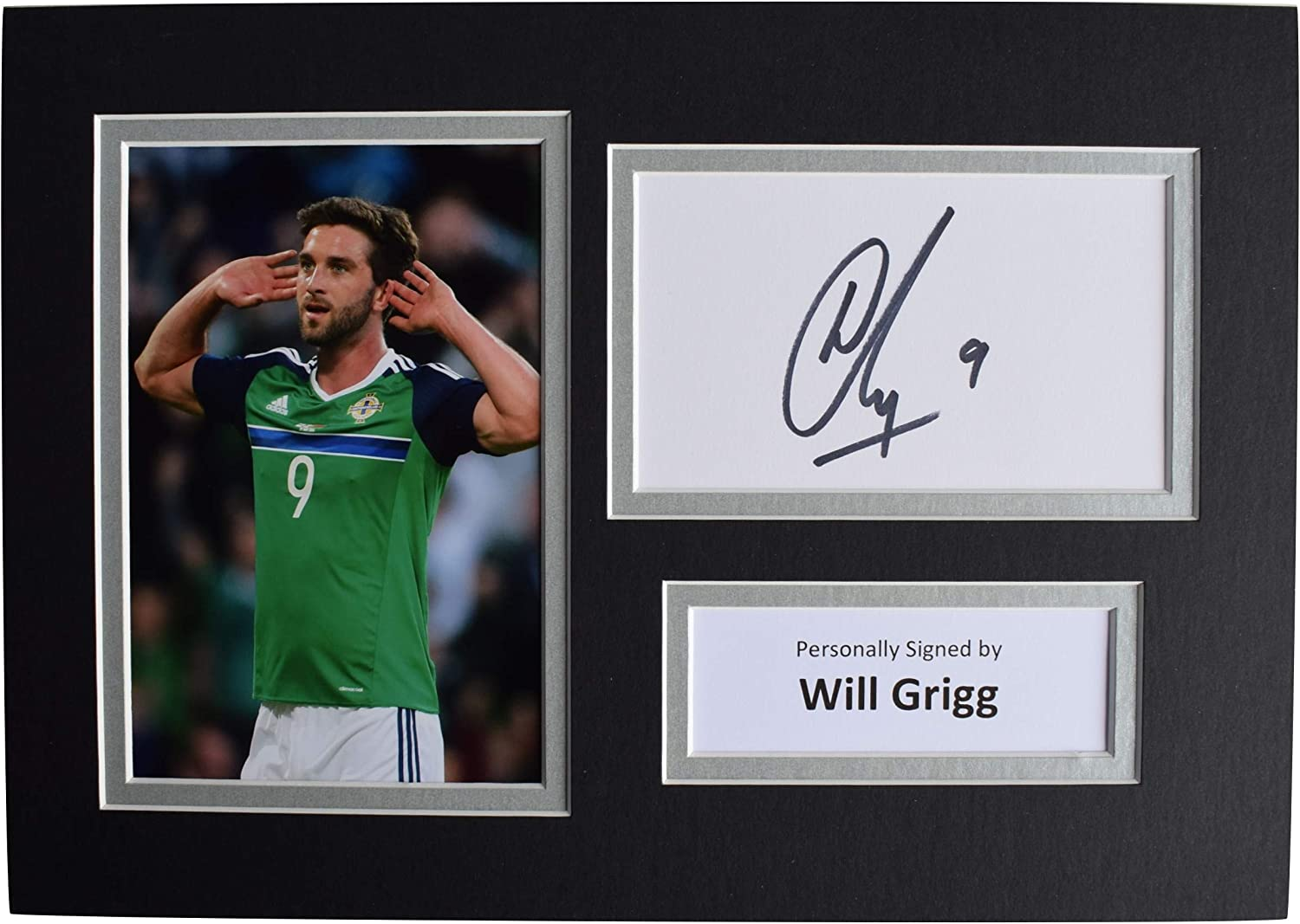 Sportagraphs LTD Will Grigg Signed Autograph A4 photo display Northern Ireland Football AFTAL COA