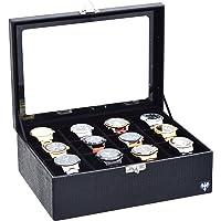 Porta-Relógios Total Luxo Couro Ecológico Preto Preto 12 Divisórias Maiores (3x4)