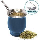 Yerba Mate Natural Gourd/Tea Cup Set Blue...
