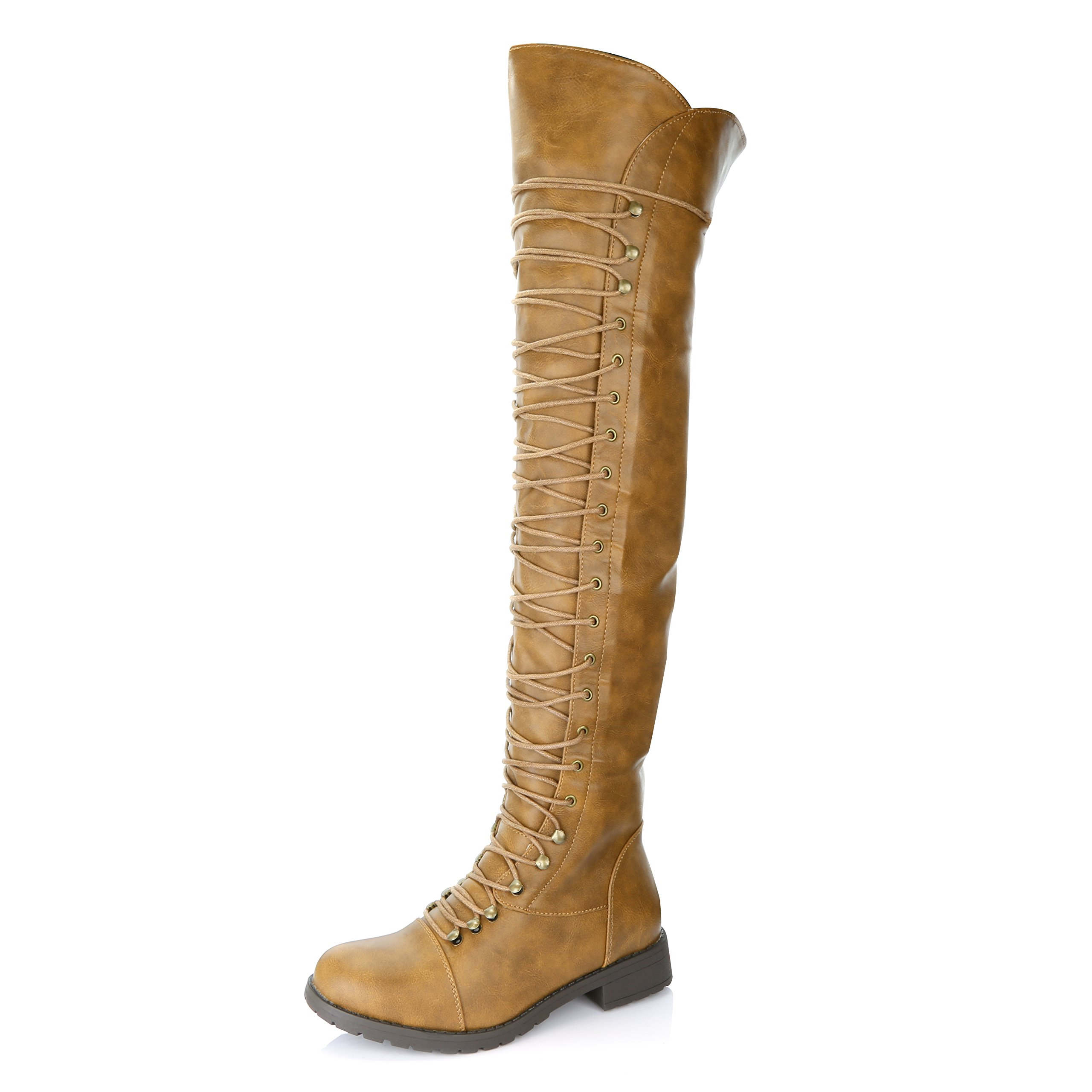DailyShoes Women's Lace up Thigh High Boots - Vegan Easy Lace up Design with Zipper Trendy Mility Style Boot, Tan PU, 11 B(M) US