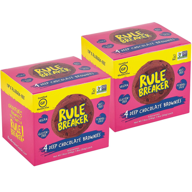 Rule Breaker Eight Packs, 8 Brownies, Healthy and Unbelievably Delicious, Vegan, Gluten Free, Nut Free, Allergen Friendly, Kosher (2/4ct packs) by Rule Breaker (Image #1)