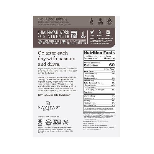 Navitas Organics Chia Seeds, 16 oz  Bag — Organic, Non-GMO, Gluten-Free